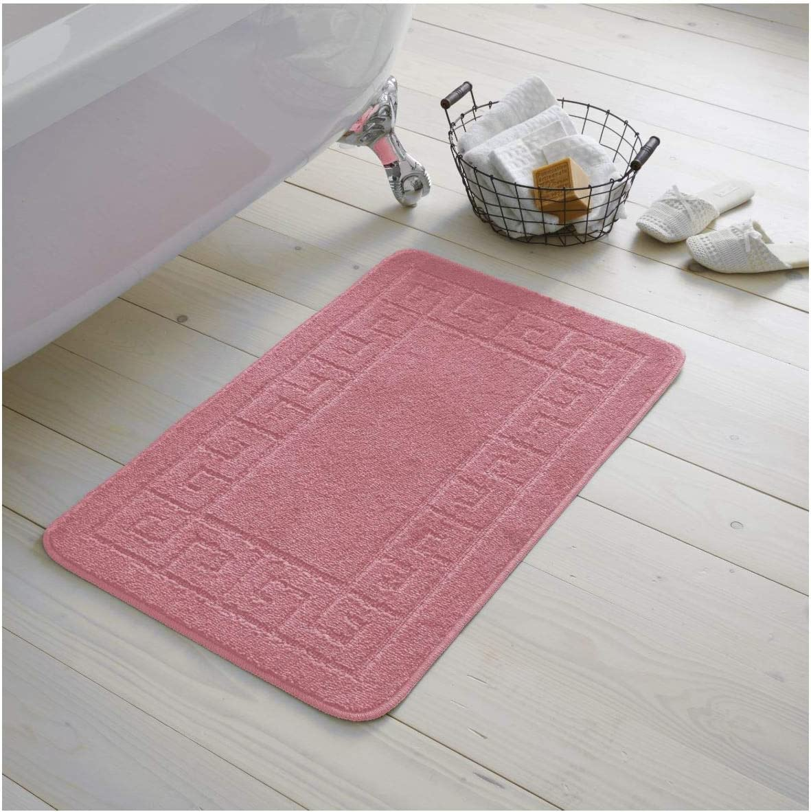 Colore Cipria Gaveno Cavailia Greek Bath Set Set di 2 tappetini da Bagno in Tessuto Felpato con piedistallo Antiscivolo 100/% Polipropilene Rosa Polvere Regular Extra Assorbente