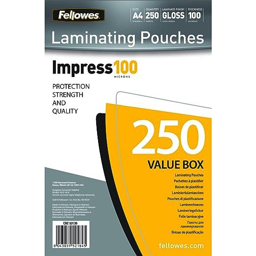 2 opinioni per Fellowes Pouches, 100 mic, A4, 250 pezzi