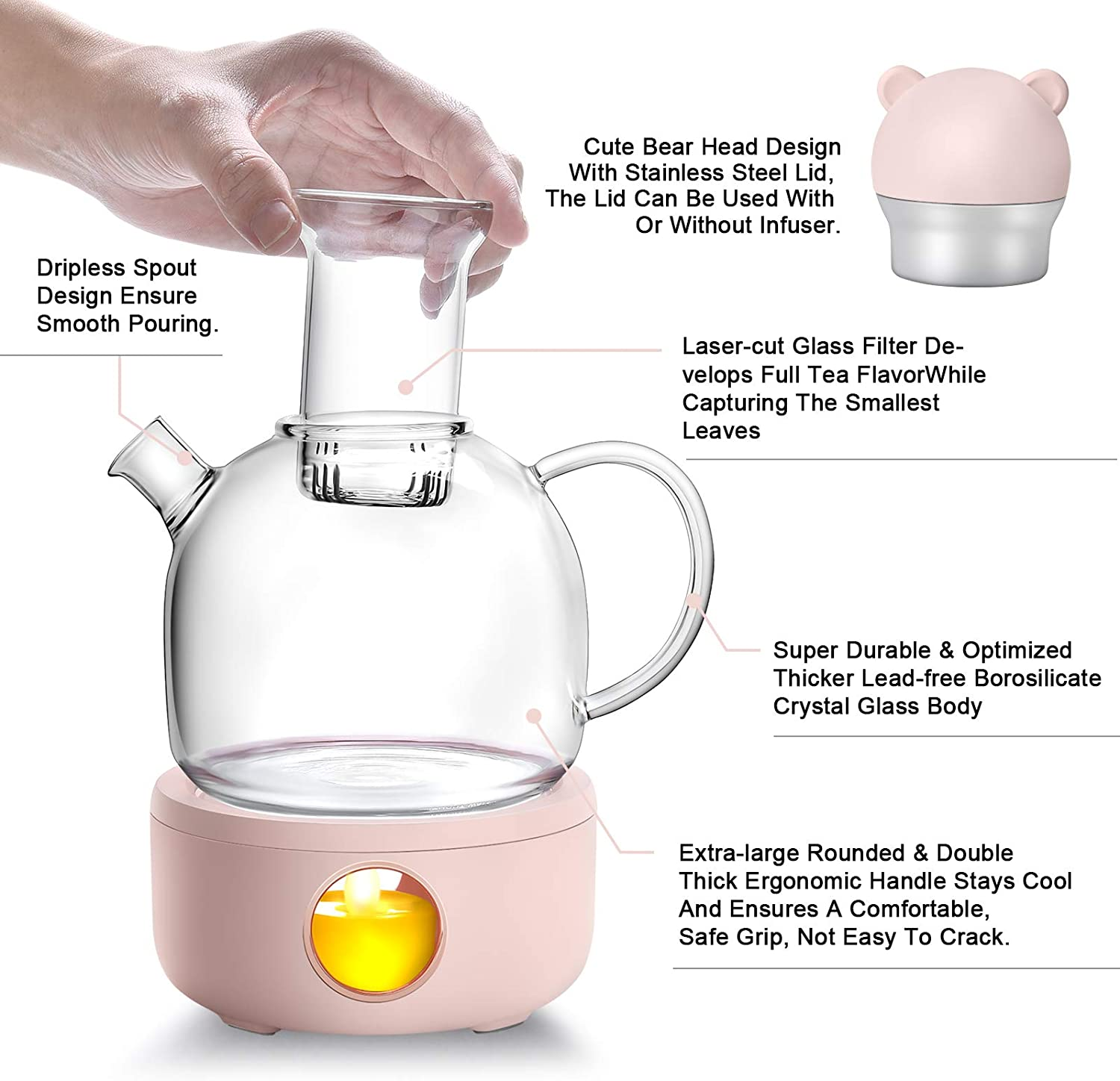 Glass Teapot Coffee Tea Warmer with Glass Infuser & Tea Warmer Set Coffee Moka Milk Warmer Pot Cup Warmer for Desk Simulation Light Candle