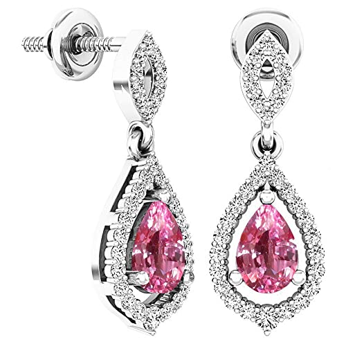 Dazzlingrock Collection 6X4 MM Each Pear Gemstone Round White Diamond Ladies Dangling Drop Earrings, Sterling Silver