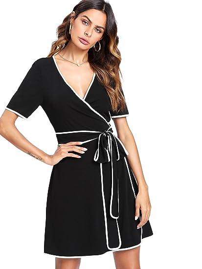 6b09f4256f Romwe Women s Cute Fashion Summer Contrast Binding Wrap Slim Fit Short Dress  Black S