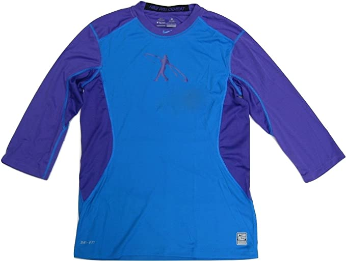 8137a3d2ca0 Nike Swingman Pro Combat Men's 3/4 Blue/Purple Sleeve Fitted T Shirt ...