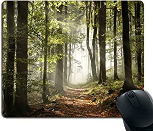 Smooffly Gaming Mouse Pad Custom,Autumnal Forest Pathway in The Mountains with Mist in The Distance Wilderness Scene Non-Slip Thick Rubber Large Mousepad