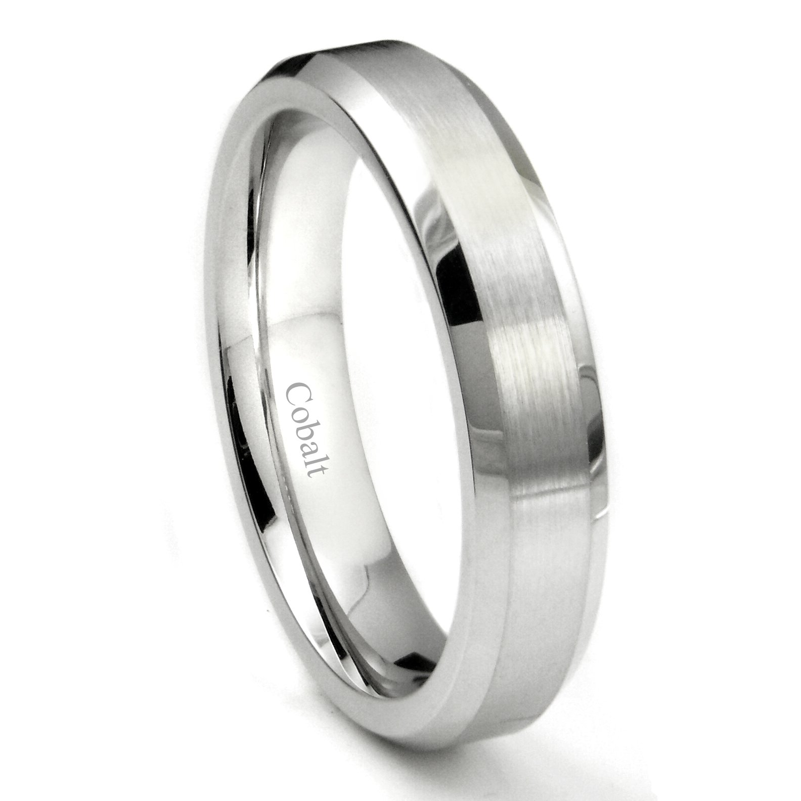 Cobalt XF Chrome 5MM Brush Center Wedding Band Ring w/ Beveled Edges Sz 10.0