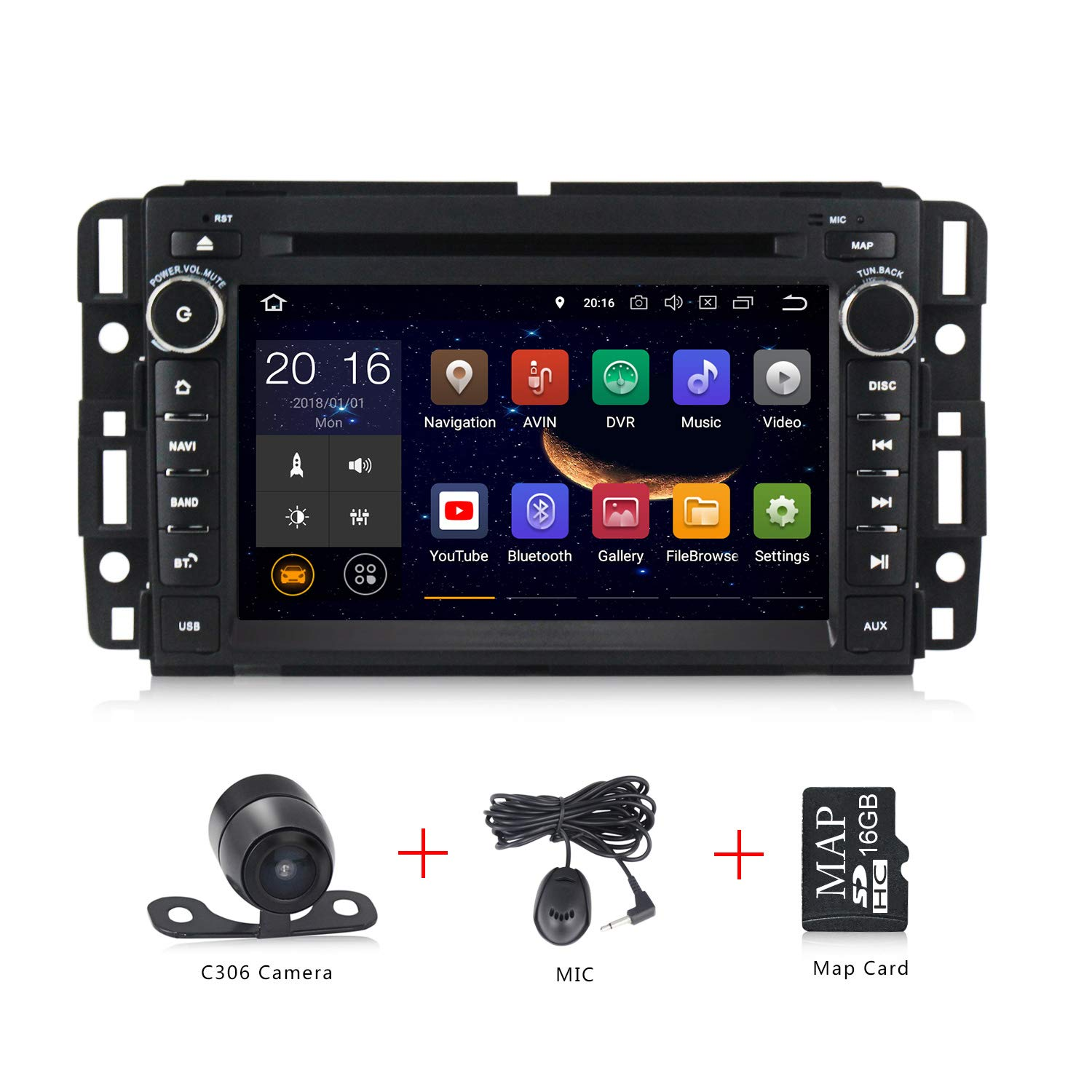 Android 9.0 Car Stereo 7 inch DVD Player for GMC Chevy Silverado 1500 2012 Quad Core Double Din in Dash Touchscreen FM/AM Radio Receiver Navigation with Rear View Camera by MekedeTech