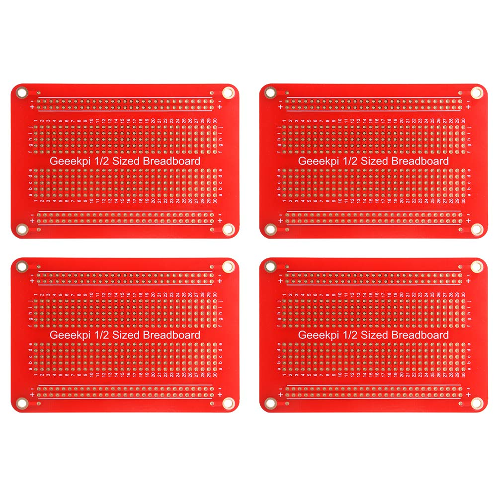 Black GeeekPi 5Pcs Double Sided PCB Board Prototype Kit for DIY Soldering,Gold-Plated,with 2 Sizes Compatible with Arduino Raspberry Pi 4Pcs Half-sized + 1Pcs 1//4 sized Breadboard