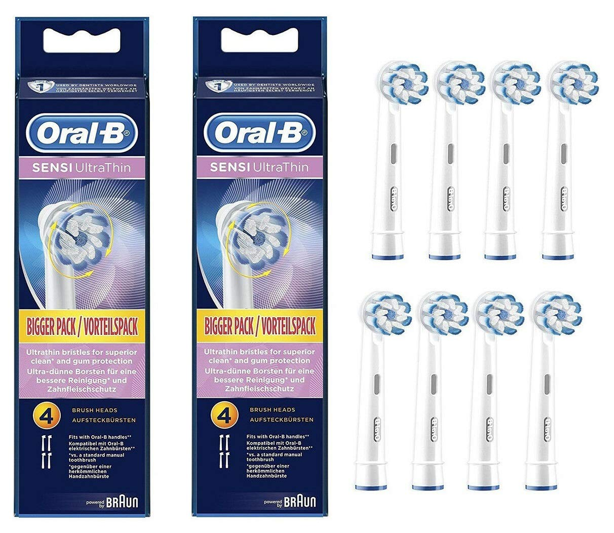 Oral-B Professional Sensitive Gum Care Replacement Brush Head iaxIai, 2 Pack (3 Brush Heads)