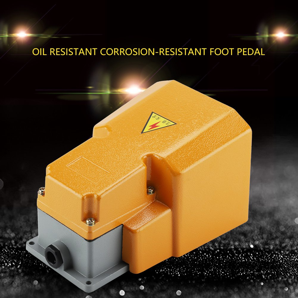 250 V 10 A Aluminum Foot Switch Oil Resistant Corrosion-Resistant Foot Pedal On/Off Switch with Guard Single Pedal by Wal front (Image #7)