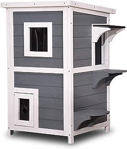 Lovupet 2 Story Weatherproof Wooden Outdoor/Indoor Cat Shelter House Condo with Escape Door 0508 (Grey)