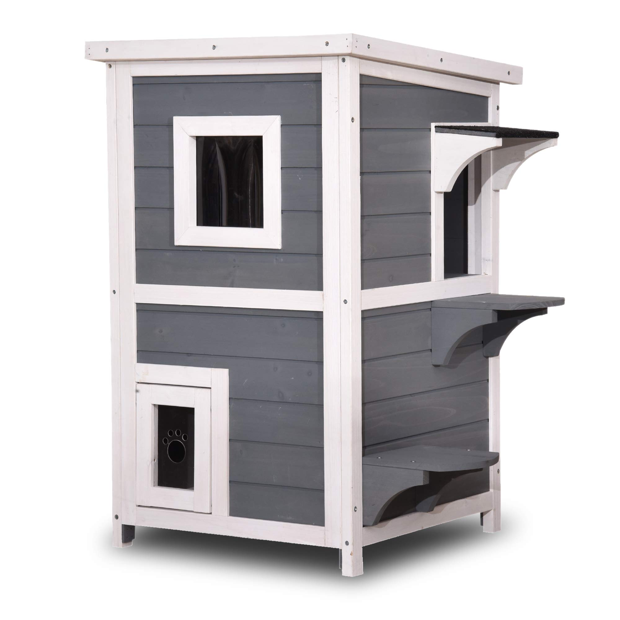 Lovupet 2 Story Weatherproof Wooden Outdoor/Indoor Cat Shelter House Condo with Escape Door 0508 (Grey) by Lovupet