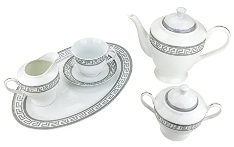 Majestic Porcelain 49-Piece Dinner Set Silver-Plated Grey Greek Pattern Place Setting  sc 1 st  Amazon.com & Amazon.com | Majestic Porcelain 49-Piece Dinner Set Silver-Plated ...