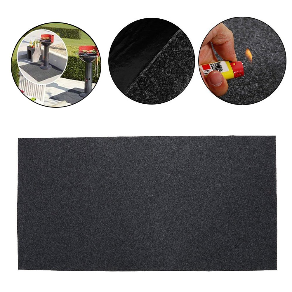Uterstyle 2pcs BBQ Gas Grill Splatter Mat, Extra Large Fireproof Heat Resistant Gas or Electric Grill Splatter Mat Pad Floor Protective Rug for Backyard Outdoor Deck Patio 48x30inch (2)
