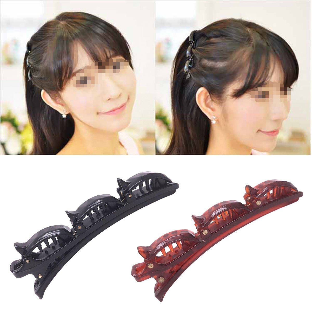 2 Pcs Women Girls Double Layer Band Twist Plait Plate Hair Clip Pins - Fashion Headband Magic Braid Front Hair Clips Hairpin - Hair Styling Accessory Tools - Black + Brown Numblartd
