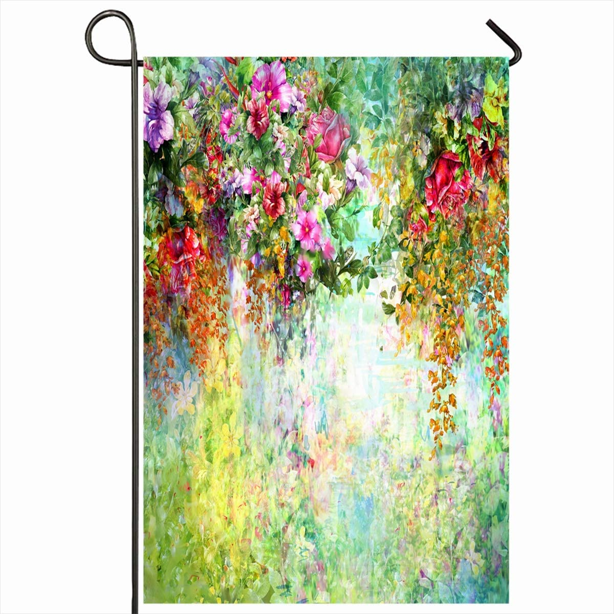 """Ahawoso Outdoor Garden Flags 12""""x18"""" Inch Multicolored Green Floral Abstract Flowers Watercolor Painting Flower Spring Nature Paint Oil Bright Vertical Double Sided Home Decorative House Yard Sign"""