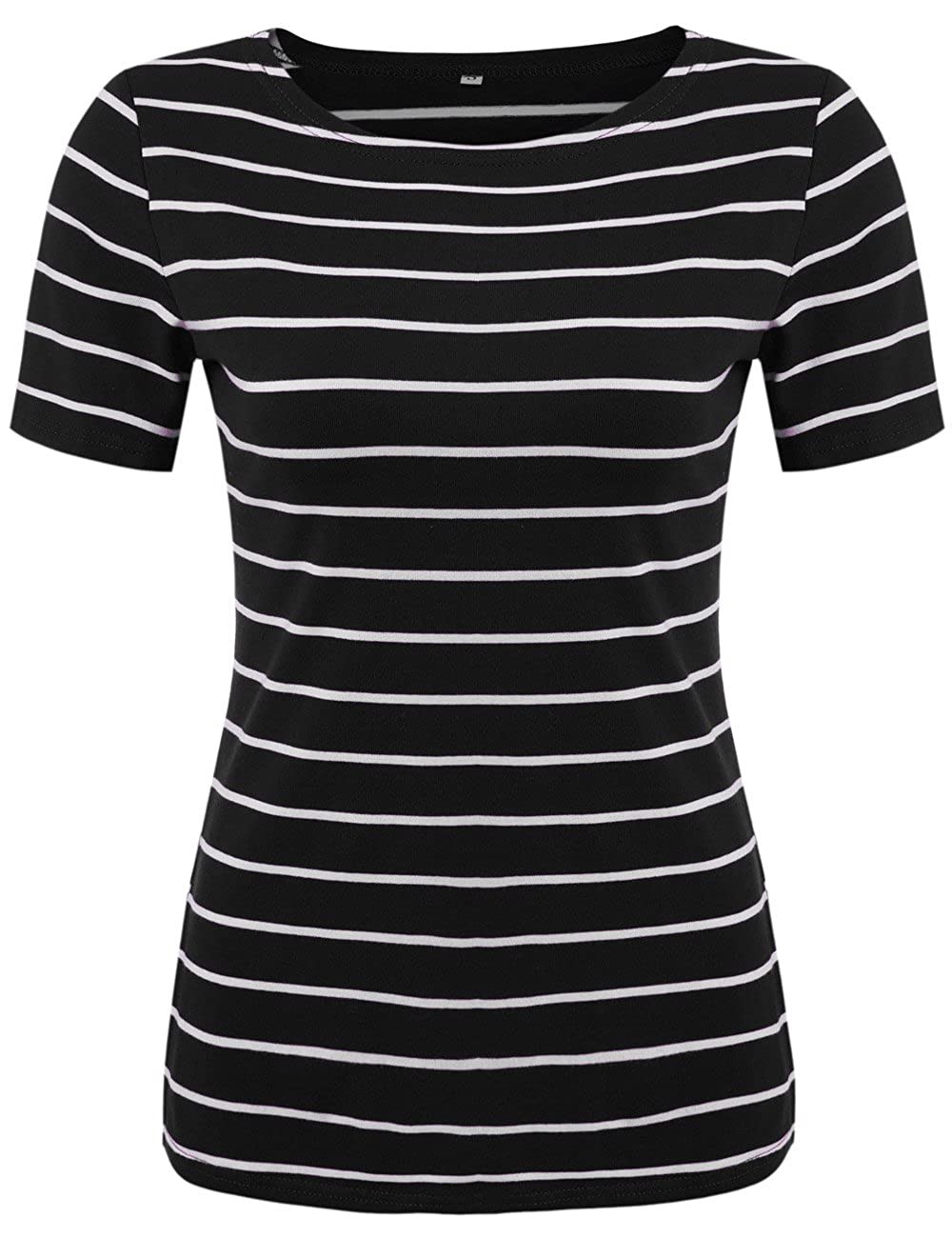 ab32810b Women's Summer Short Sleeve Striped T-Shirt Tee Tops Slim Fit Stripes  Blouses at Amazon Women's Clothing store: