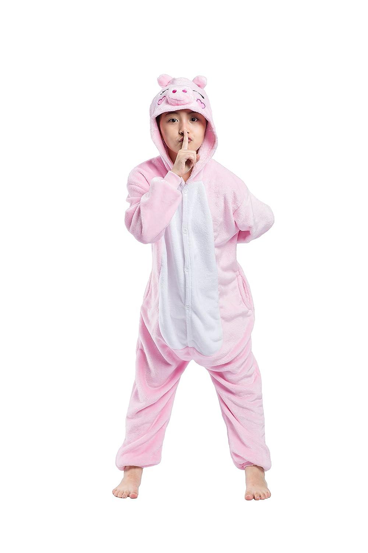 c321720f01ca0 Magicmode Unisexe Enfants Mignons De Bande Dessinée Rose Cochon Une Pièce À  Capuchon Grenouillère Pyjama Cosplay Costume De Vêtements De Nuit   Amazon.fr  ...
