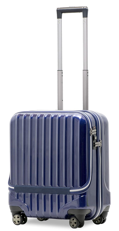 【JP-Design】スーツケース 機内持込 軽量 フロントオープン ダブルキャスター 8輪 【W-Receipt】 ハードキャリー ダブルファスナータイプ キャリーケース キャリーバッグ 前ポケット B0795WVWDL S-40L-ネイビー S-40L-ネイビー