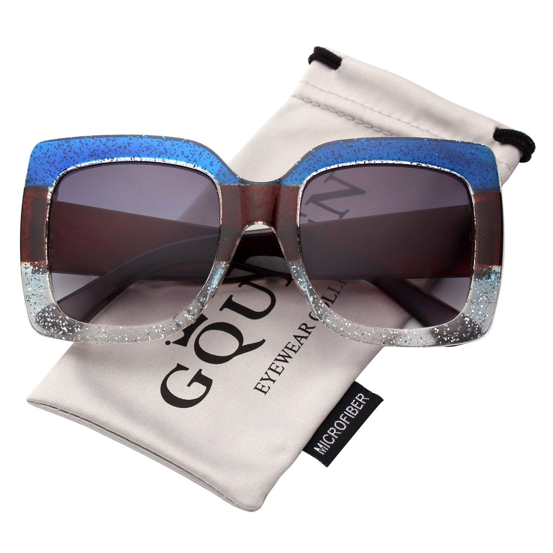 GQUEEN Occhiali Oversize Da Donna Quadrata con Glitter Multi-color Occhiali da Sole alla Moda S904 UK-S90GQ04-4
