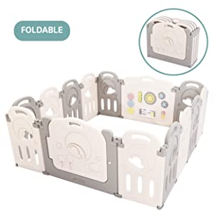 Cloud Castle Foldable Playpen by Classy Kiddie, Baby Safety Play Yard with Whiteboard and Activity Wall, Indoors or Outdoors (14 Panel)