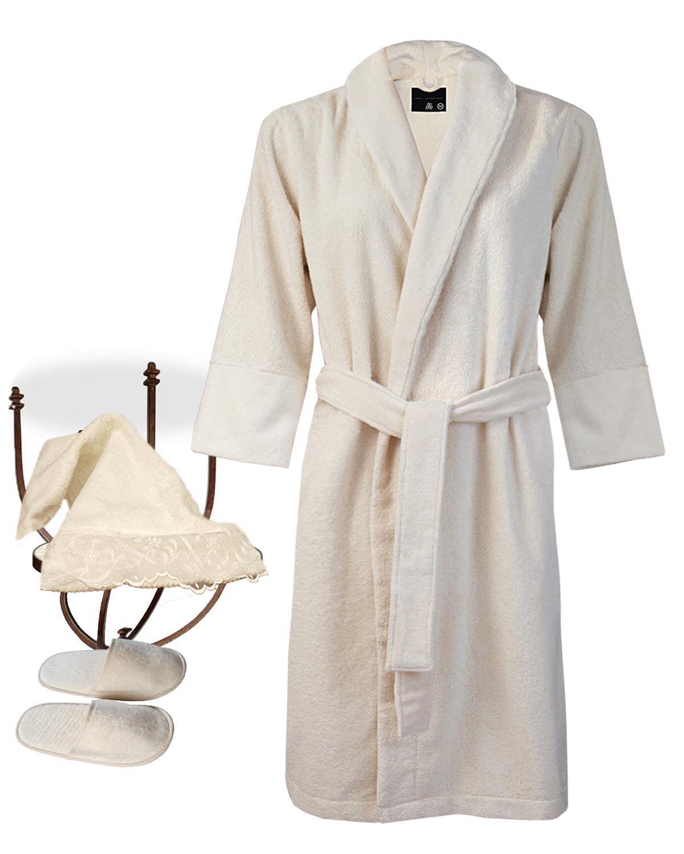 Armani International Bath Robe Slippers Hand Towel Set, XX-Large Natural