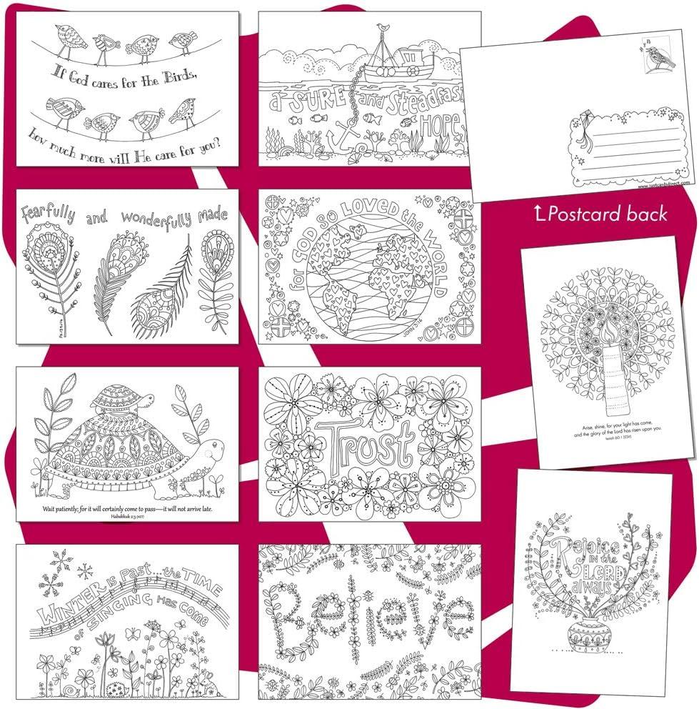 Tarjetas postales para colorear, 10 diseños diferentes en un paquete, con versículo de escritura en el reverso, de Just Cards Direct: Amazon.es: Oficina y papelería