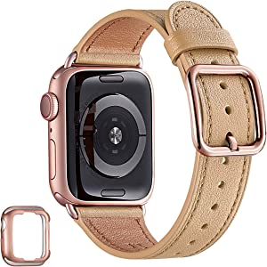 MNBVCXZ Compatible with Apple Watch Band 38mm 40mm 42mm 44mm Women Men Girls Boys Genuine Leather Replacement Strap for iWatch Series 6 5 4 3 2 1 iWatch SE (Camel/Rose gold, 38mm 40mm)
