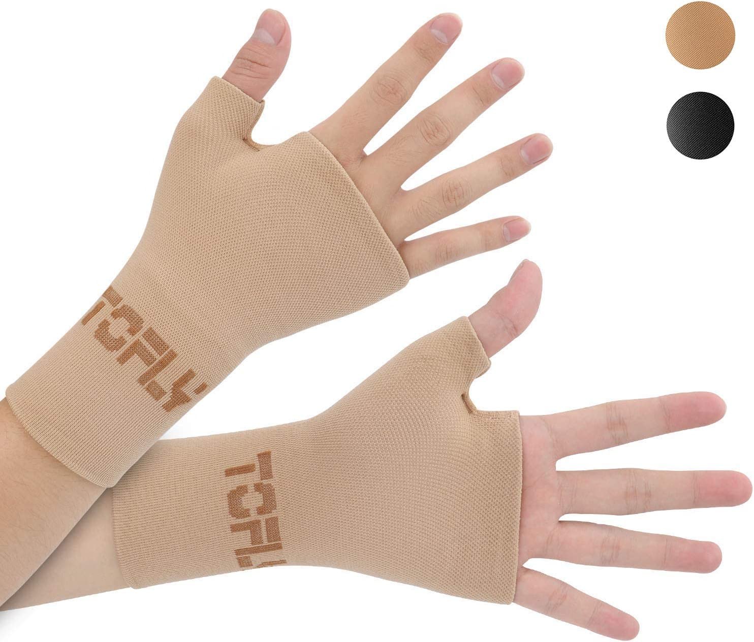 TOFLY Wrist & Thumb Support Sleeve, 1 Pair Compression Arthritis Gloves for Unisex, Ideal for Carpal Tunnel, Wrist Pain & Fatigue, Sprains, RSI, Tendonitis, Hand Instability, Sports, Typing, Beige M