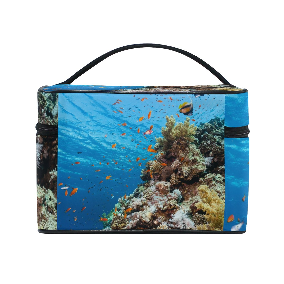 Underwater World Corals Fish Portable Travel Makeup Cosmetic Bags Toiletry Organizer Multifunction Case
