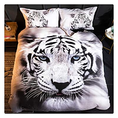 Homebed White Tiger Bedding Set Twin Size 3D Animal Print for Kids Boys Teens Duvet Cover Set 2 Pieces: Home & Kitchen