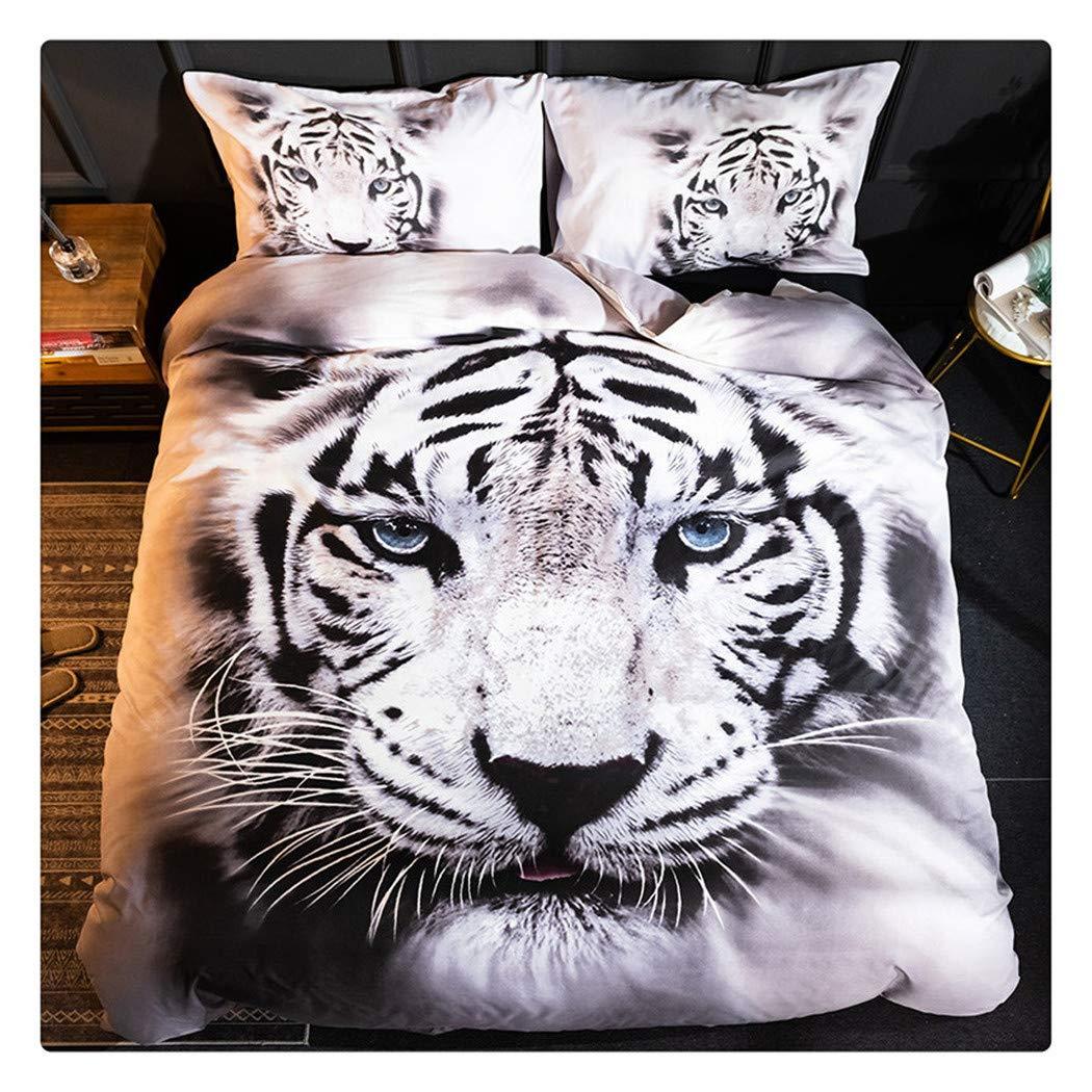 Homebed White Tiger Bedding Set King Size 3D Animal Print for Kids Boys Teens Duvet Cover Set 3 Pieces