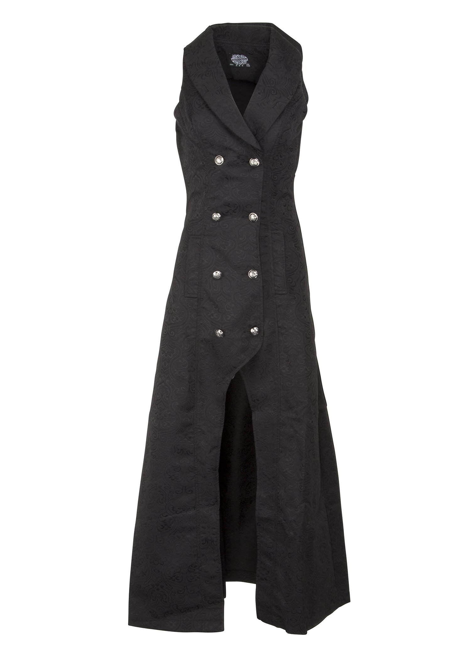 Womens Black Victorian Steampunk Gothic Sleeveless Coat Jacket 3