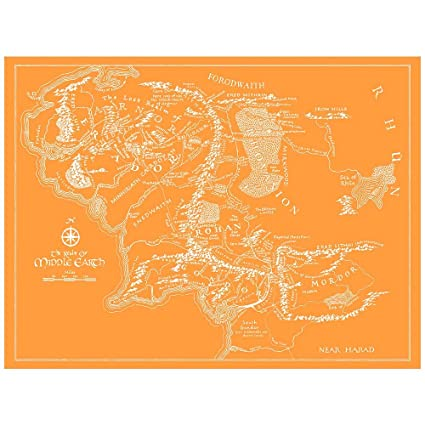 Amazon Com Inked And Screened Sci Fi And Fantasy Middle Earth Map