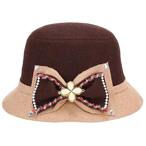 Dosige Elegante sombrero Sombrero de fieltro de lana Sombrero de fieltro  Gorra Bombín con Visera Curvada a15d51981b7