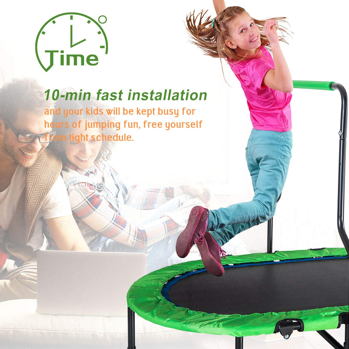 Merax Mini Rebounder Trampoline with Handle for Two Kids, Parent-Child Trampoline (Green) by Merax (Image #5)