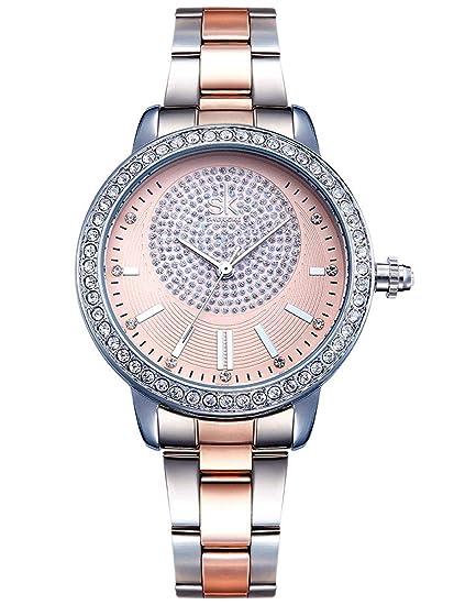 Alienwork Reloj Mujer Relojes Acero Inoxidable Plata Analógicos Cuarzo Oro Rosa Impermeable Strass Purpurina Elegante: Amazon.es: Relojes
