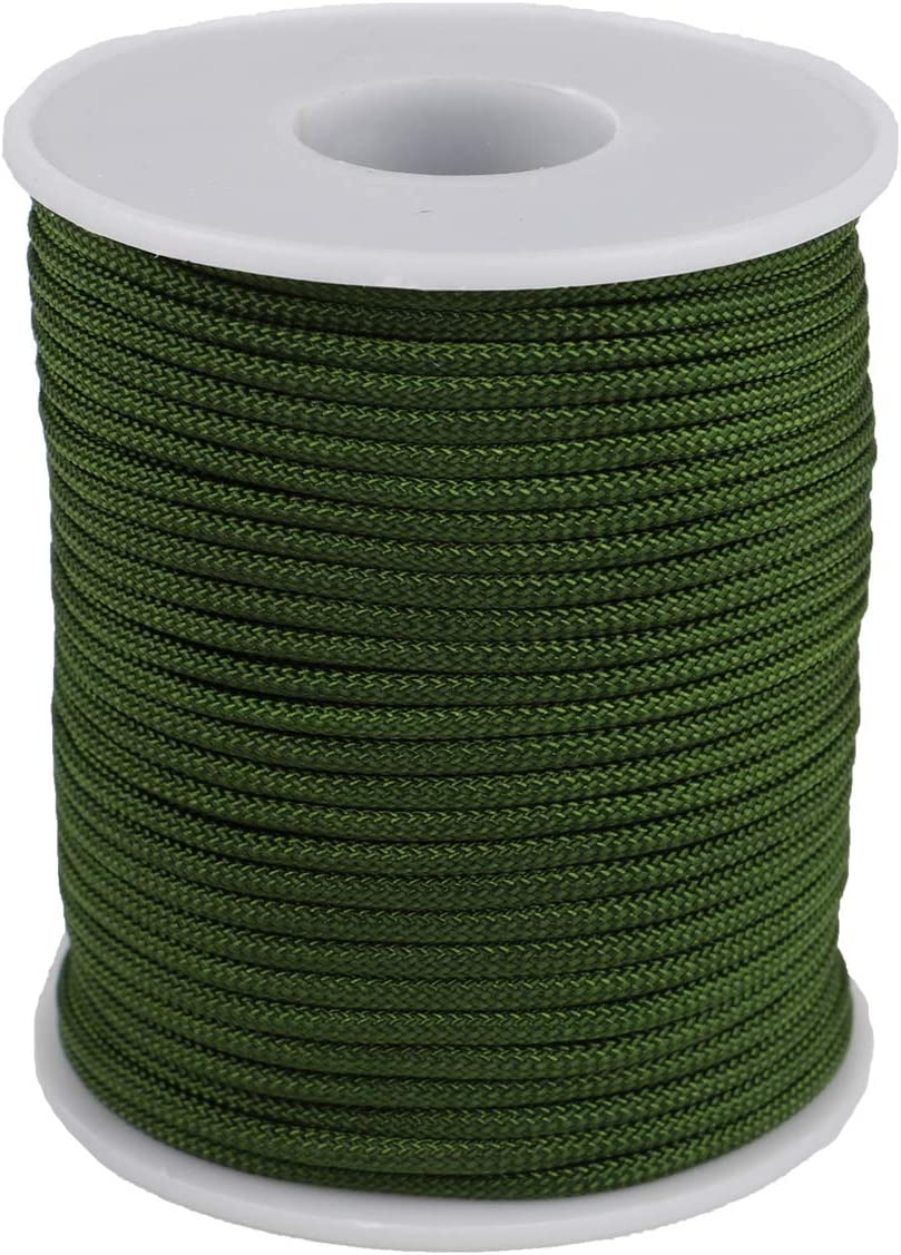 McFanBe Braided Nylon Twine Cord Thread String for Necklace Bracelet Jewelry Making Crafting Accessories (2mm-98feet, Army Green)