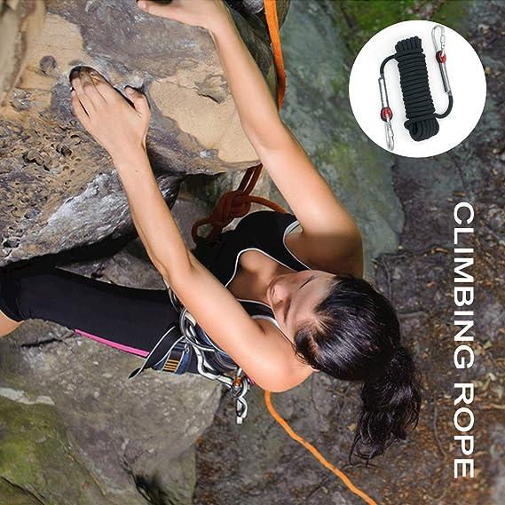HAIY Cuerda de Escalada Cuerda de Seguridad al Aire Libre, Diámetro 10.5mm con 2 mosquetones Cuerda de Nailon Trenzado, Cuerda de Seguridad de Alta ...