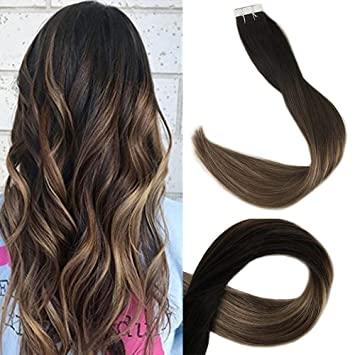 amazon com full shine 14 balayage tape in hair extensions seamless