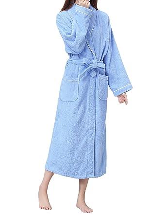 LAPAYA Womens Terry Bathrobe Soft Plain Hotel Long Sleeve Long Cotton Bathrobe, Dark Blue,