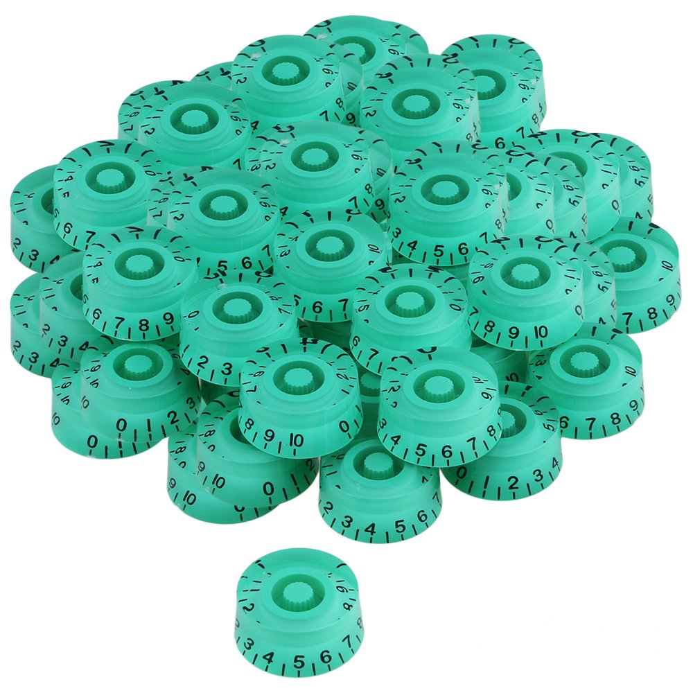 Yibuy Green Right Hand Plastic Electric Guitar Control Knobs with Black Number Scale Set of 200