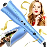 """Auto Hair Curler, Automatic Curling Iron Wand with 4 Temp Up to 425℉& Timer, 1"""" Larger Rotating Barrel Curling Wand with Dual"""