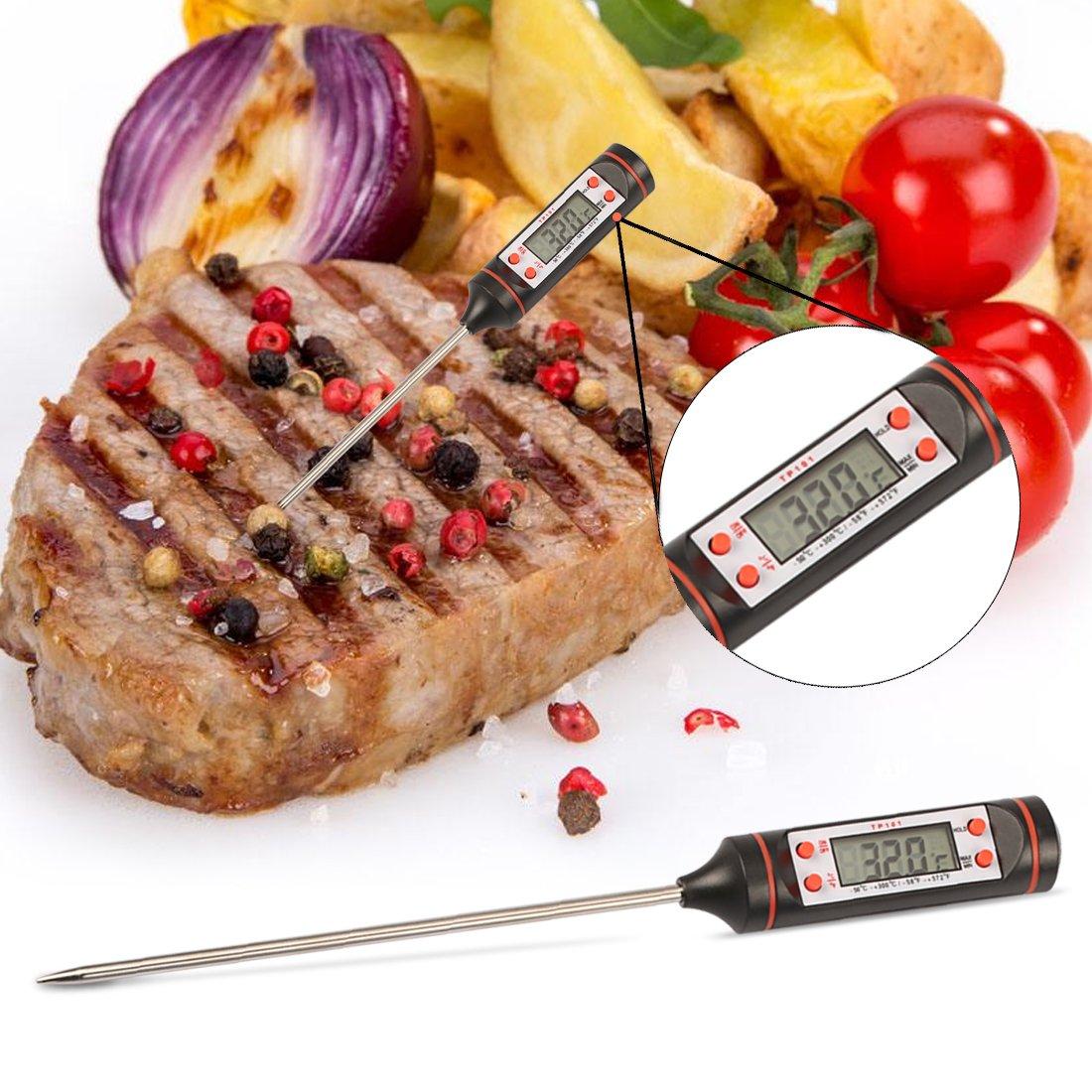 Termómetro Digital de Cocina, Termómetro de Comida Reacción Rápida con Pantalla LCD Sonda Larga Apagado Automático para Alimentación, Carne, BBQ, Horno, Líquido, Comida Bebé, Bebida, etc