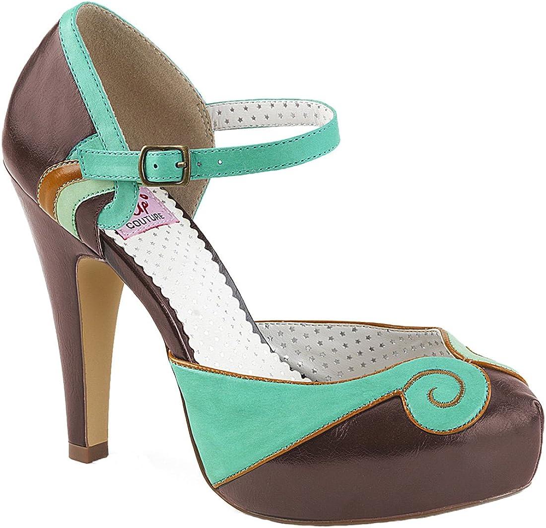 TALLA 37 EU. Pinup Couture - Zapatos de Vestir de Material Sintético para Mujer