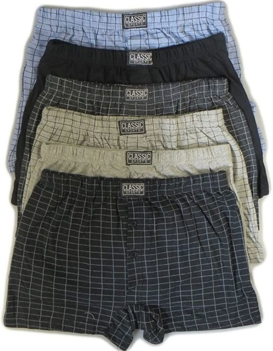 6 Pairs Mens Cotton Blend Button Boxer Shorts Check Patterened or Plain Boxers Sizes S-6XL