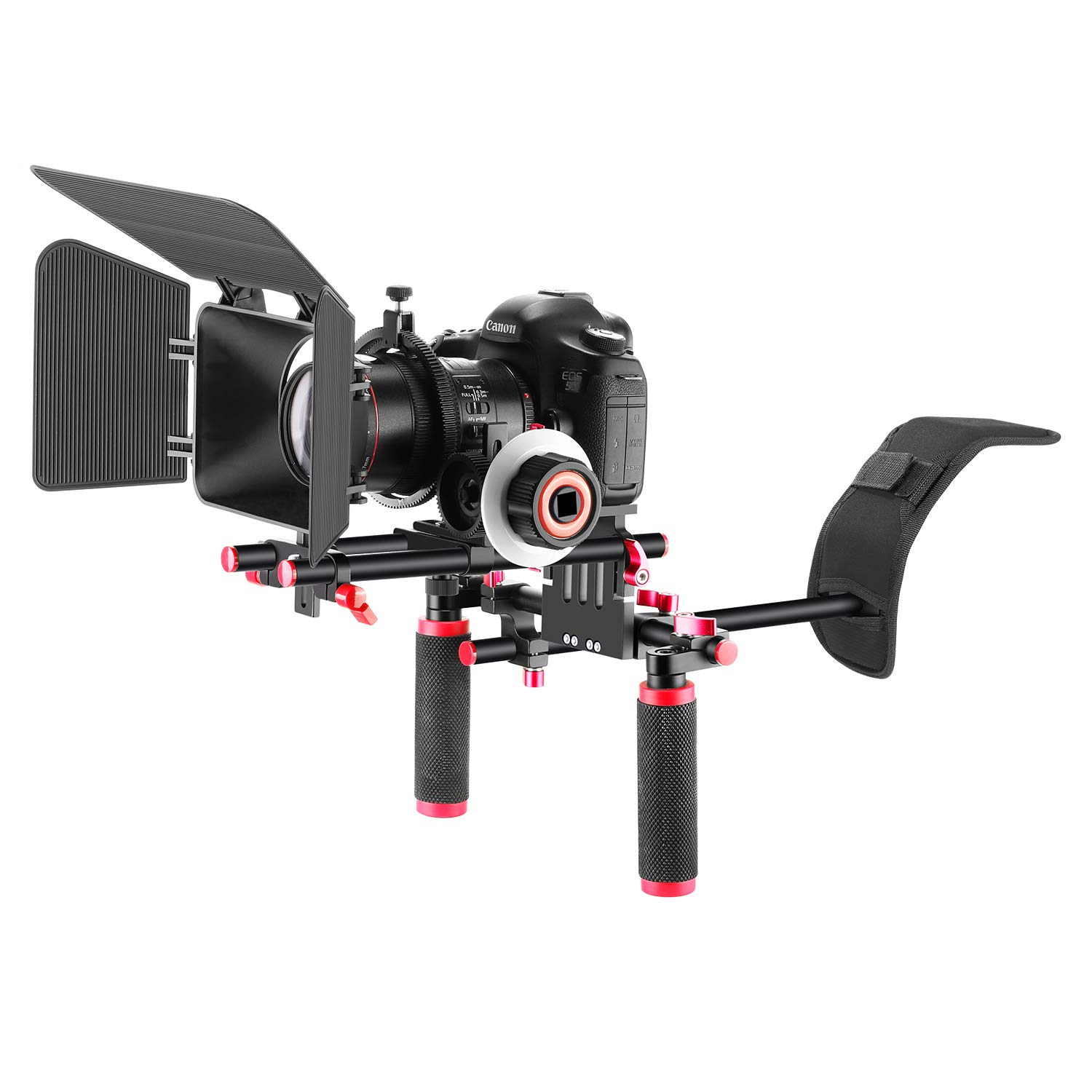 Neewer Film Movie Video Making System Kit for Canon Nikon Sony and Other DSLR Cameras Video Camcorders, Includes: Shoulder Mount, 15mm Rod, Follow Focus, Matte Box (Red) by Neewer