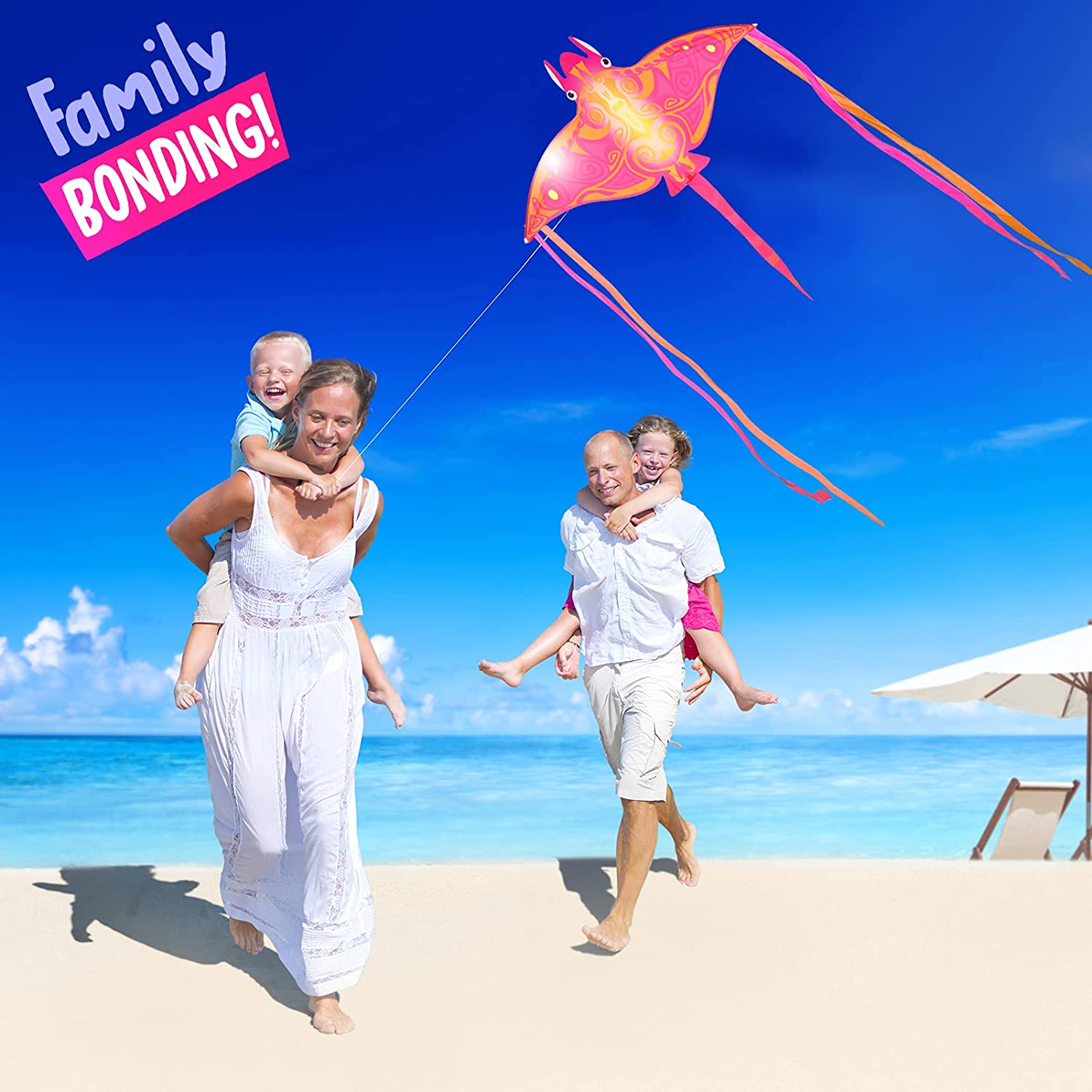 Delta Manta Ray Kite Great Flyer for Beginners Boys and Girls Devil Fish Kite Easy to Fly 64 x 54inch Beach Kite for Kids Outdoor Games and Activities