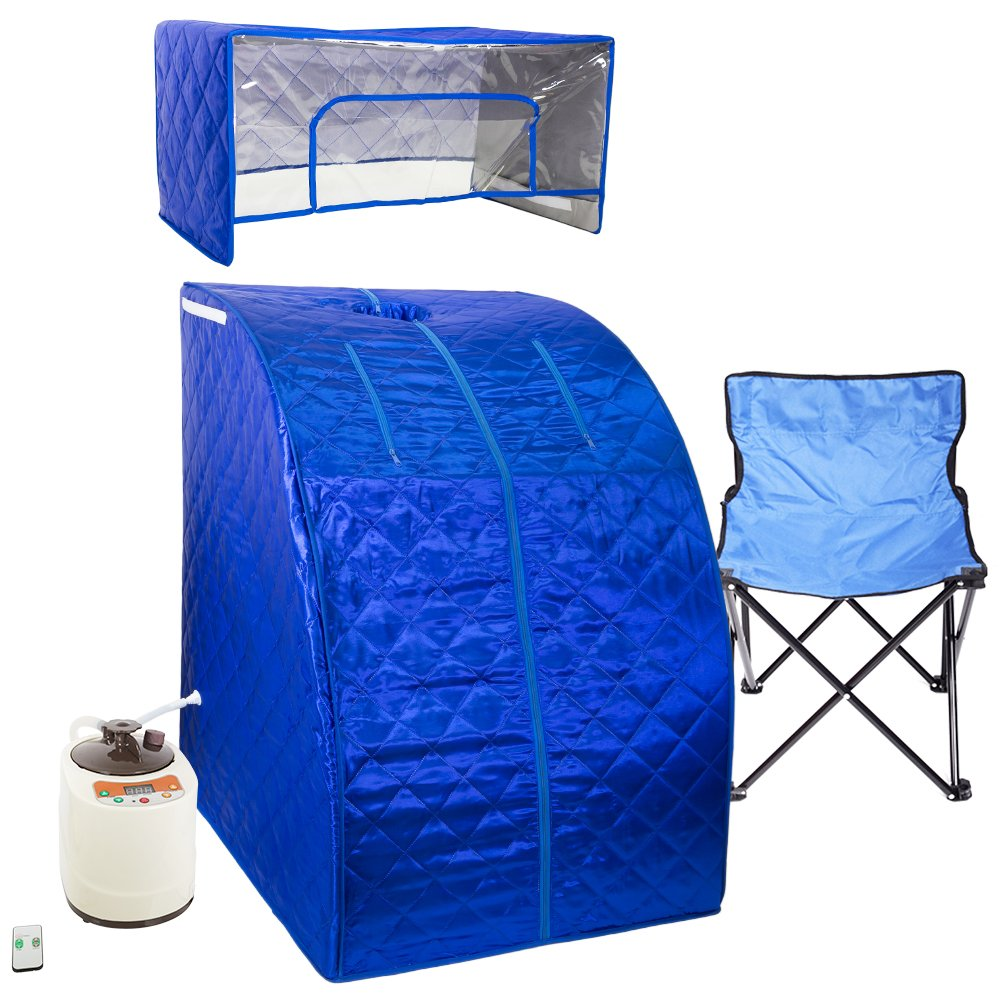 WYZworks Blue Portable Therapeutic Personal Steam Sauna Spa Room 2L Water Capacity with Headcover and Herb Box by WYZworks