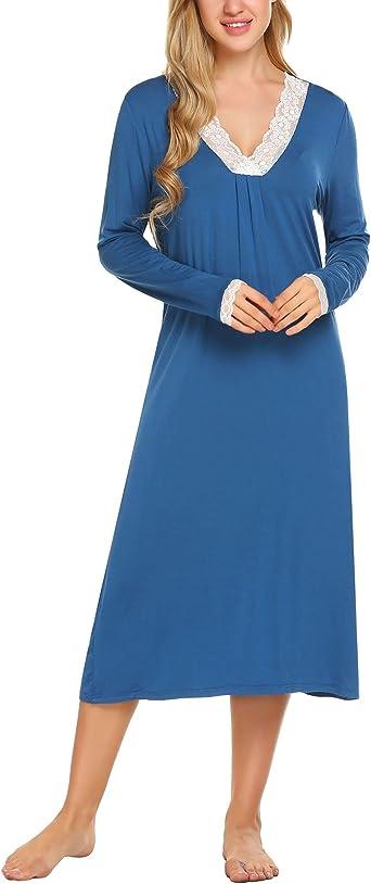HOTOUCH Donna Camicia da Notte Manica Lunga in Pizzo Comodo Semplice Camicia da Notte Cotone Scollo a V S-XXL