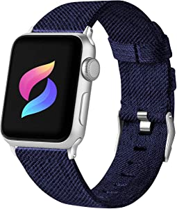 Haveda Fabric Compatible for Apple Watch Series 6 Series 5/4 40mm Band, Soft Woven Canvas band for Apple watch SE, iwatch bands 40mm womens, Sport cloth dressy for Apple Watch 38mm Series 3 2/1 (Blue)
