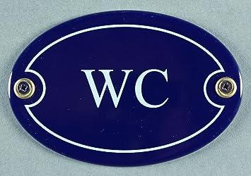 Amazon emaille türschild wc blau oval cm schild
